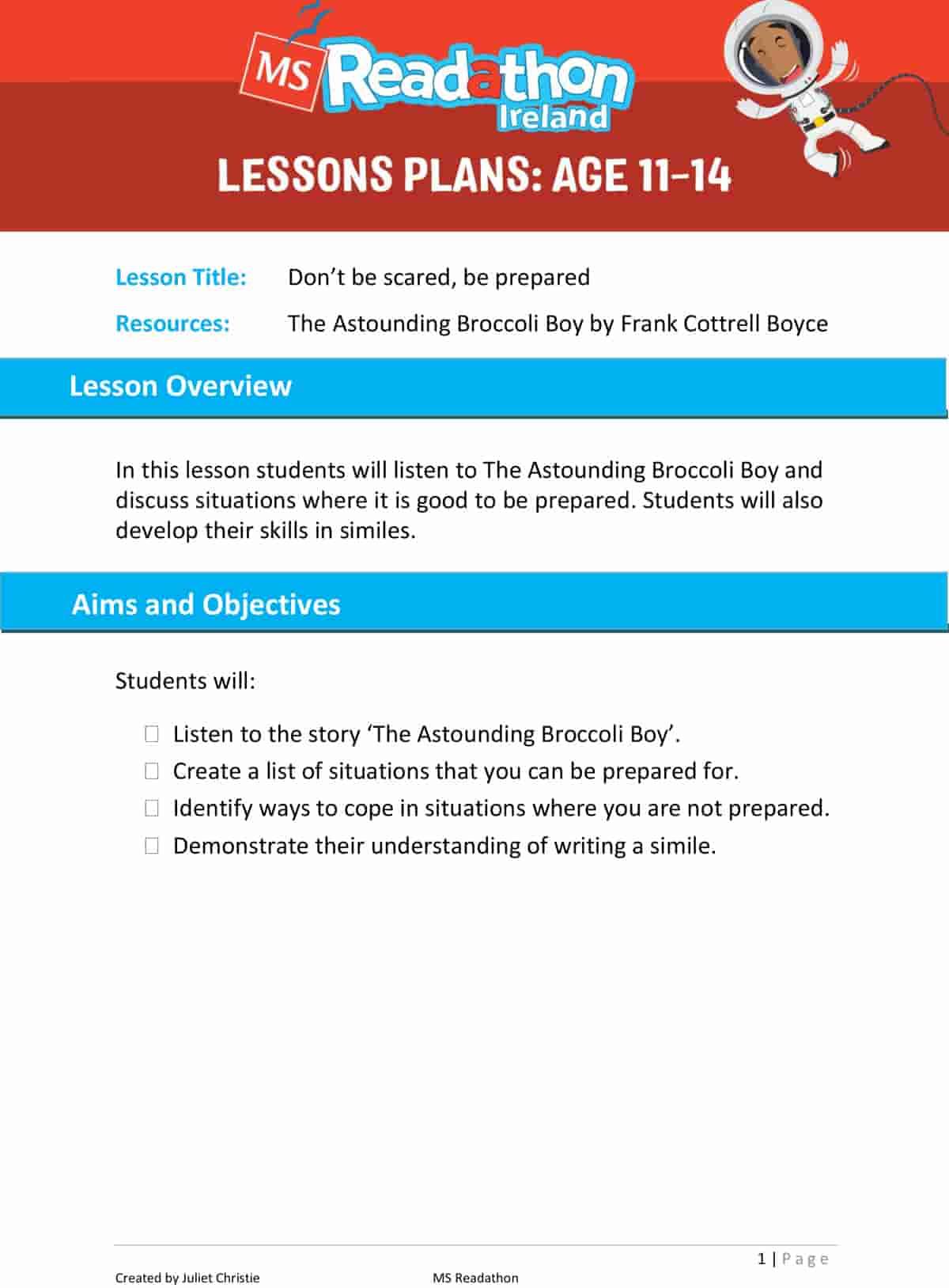 Lesson plans: Age 11-14