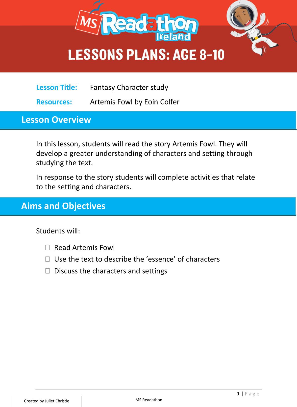Lesson plans: Age 8-10